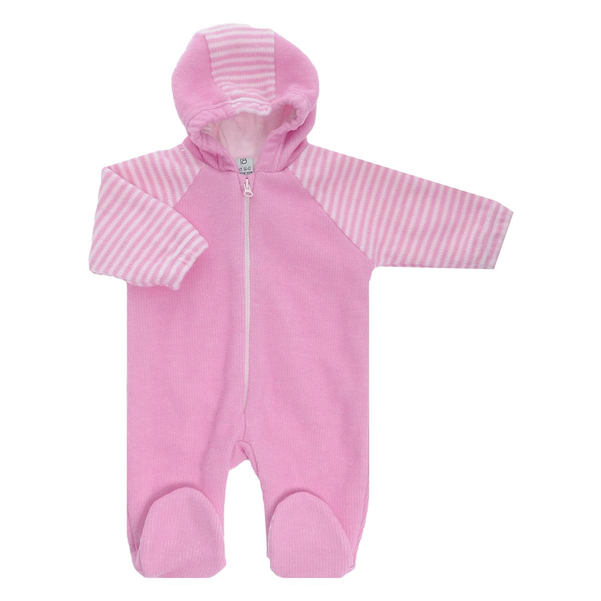 Комбинезон детский Lucky Child, цвет: розовый, белая полоска. 4-13. Размер 68/744-13Детский вязаный комбинезон с капюшоном Lucky Child - очень удобный и практичный вид одежды для малышей. Комбинезон выполнен из натурального хлопка, на подкладке также используется натуральный хлопок, благодаря чему он необычайно мягкий и приятный на ощупь, не раздражают нежную кожу ребенка и хорошо вентилируются, а эластичные швы приятны телу малыша и не препятствуют его движениям. Комбинезон с длинными рукавами-реглан и закрытыми ножками имеет пластиковую застежку-молнию по центру, которая помогает легко переодеть младенца. Рукава понизу дополнены неширокими эластичными манжетами, не перетягивающими запястья. С детским комбинезоном Lucky Child спинка и ножки вашего малыша всегда будут в тепле. Комбинезон полностью соответствует особенностям жизни младенца в ранний период, не стесняя и не ограничивая его в движениях!