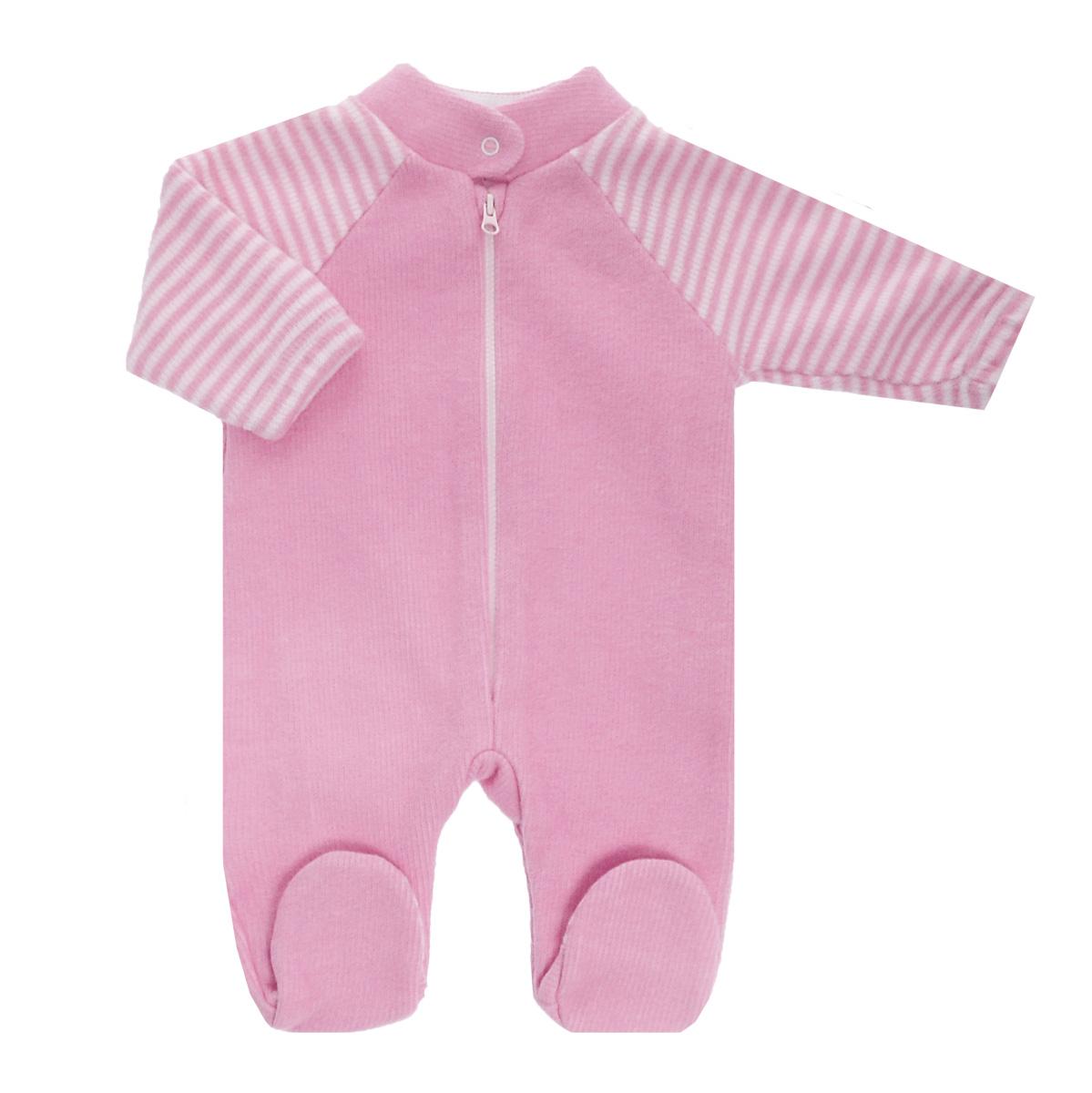 Фото Комбинезон детский Lucky Child, цвет: розовый, белая полоска. 4-14. Размер 80/86