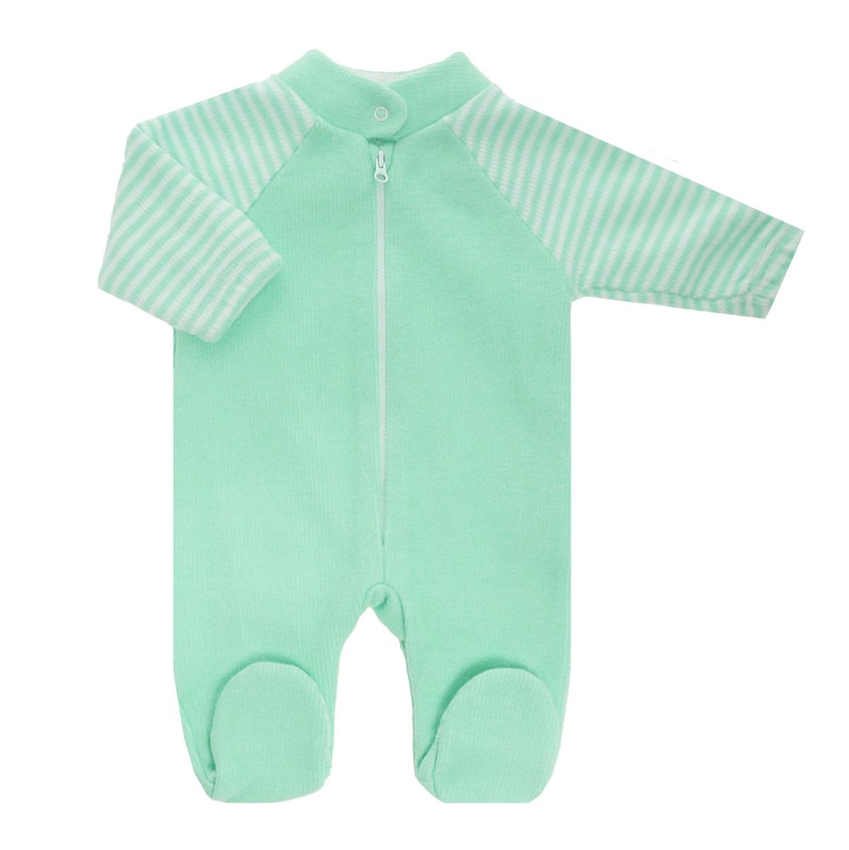 Комбинезон детский Lucky Child, цвет: зеленый, белая полоска. 4-14. Размер 68/744-14Детский вязаный комбинезон Lucky Child - очень удобный и практичный вид одежды для малышей. Комбинезон выполнен из натурального хлопка, на подкладке также используется натуральный хлопок, благодаря чему он необычайно мягкий и приятный на ощупь, не раздражают нежную кожу ребенка и хорошо вентилируются, а эластичные швы приятны телу малыша и не препятствуют его движениям. Комбинезон с воротником-стойкой, длинными рукавами-реглан и закрытыми ножками имеет пластиковую застежку-молнию по центру, которая помогает легко переодеть младенца. Воротничок застегивается на металлическую кнопку. Рукава понизу дополнены неширокими эластичными манжетами, не перетягивающими запястья. С детским комбинезоном Lucky Child спинка и ножки вашего малыша всегда будут в тепле. Комбинезон полностью соответствует особенностям жизни младенца в ранний период, не стесняя и не ограничивая его в движениях!