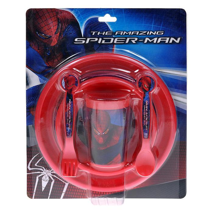 """Набор детской посуды Stor """"Человек-Паук"""" состоит из стакана, миски, тарелки, ложки и вилки. Посуда, выполненная из пищевого пластика красного цвета, оформлена изображением знаменитого Человека-паука. Ручки приборов удобны для маленьких детских пальчиков, они не выскальзывают. Наклон вилки позволяет легко накалывать на нее еду. Объем ложечки оптимален, ею легко вычерпывать и класть в рот еду.  Самостоятельное использование приборов малышом способствует развитию мелкой моторики рук. Ваш малыш с удовольствием будет кушать вместе с любимым героем.     Характеристики:  Размер тарелки: 22 см х 22 см х 1,5 см. Размер миски: 15 см х 15 см х 3 см. Длина приборов: 16 см. Высота стакана: 11 см. Размер упаковки: 26 см x 32 см x 7 см. Изготовитель: Китай."""