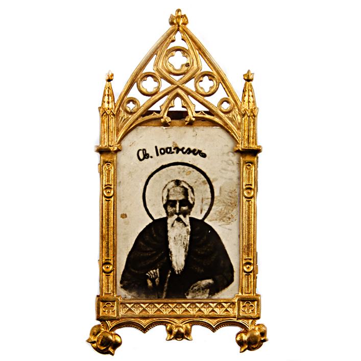 Икона Святой Иоанн Креститель. Латунь, фотография, первая половина XX века икона святой николай мстера 7х8см