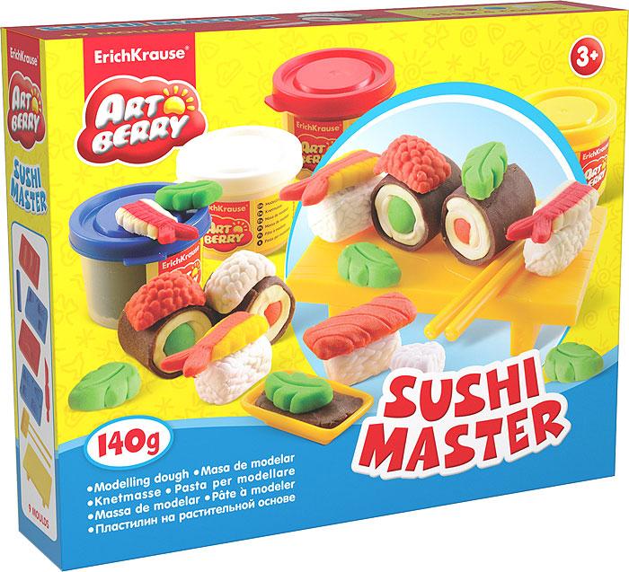 Набор для лепки (на растительной основе) Sushi Master, 4 цвета30380Пластилин на растительной основе Sushi Master - увлекательная игрушка, развивающая у ребенка мелкую моторику рук, воображение и творческое мышление. Пластилин легко разминается, не липнет к рукам и рабочей поверхности, не пачкает одежду. Цвета смешиваются между собой, образуя новые оттенки. Пластилин застывает на открытом воздухе через 24 часа. Набор содержит пластилин 4 цветов (синего, белого, желтого, красного), 4 формы-трафарета, столик для пластилиновых суши, 2 палочки, подсоусник, валик, стек. Пластилин каждого цвета хранится в отдельной пластиковой баночке. С пластилином на растительной основе Sushi Master ваш ребенок будет часами занят игрой. Характеристики:Общий вес пластилина: 140 г. Средний размер форм-трафаретов: 7,5 см x 5 см x 1 см. Размер столика: 10 см x 6 см x 2,5 см. Длина палочек: 9,5 см. Длина стека: 11,5 см. Длина валика: 9 см. Размер подсоусника: 4,5 см x 2,5 см x 1 см. Размер упаковки: 24 см x 18 см x 4,5 см. Изготовитель: Россия.