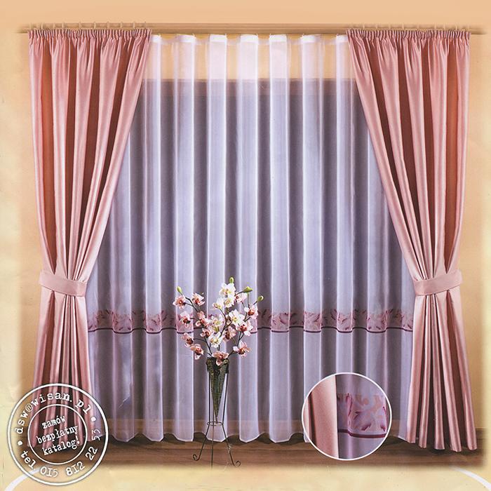 """Комплект штор """"Natasza"""" великолепно украсит любое окно. Комплект состоит из двух штор и тюли. Для более изящного расположения штор предусмотрено два подхвата. Шторы выполнены из плотного полиэстера розового цвета с атласной текстурой. Вуалевый тюль выполнен из легкого полиэстера белого цвета и оформлен ярким орнаментом. Оригинальный дизайн и нежная цветовая гамма привлекут внимание и органично впишутся в интерьер помещения. Все предметы комплекта - на шторной ленте для собирания в сборки. Характеристики:Материал: 100% полиэстер. Цвет: розовый, белый. Размер упаковки:  32 см х 37 см х 7 см. Артикул: 634910.В комплект входит: Тюль - 1 шт. Размер (ШхВ): 500 см х 250 см. Штора - 2 шт. Размер (ШхВ): 155 см х 250 см. Подхват - 2 шт. Фирма """"Wisan"""" на польском рынке существует уже более пятидесяти лет и является одной из лучших польских фабрик по производству штор и тканей. Ассортимент фирмы представлен готовыми комплектами штор для гостиной, детской, кухни, а также текстилем для кухни (скатерти, салфетки, дорожки, кухонные занавески). Модельный ряд отличает оригинальный дизайн, высокое качество. Ассортимент продукции постоянно пополняется."""