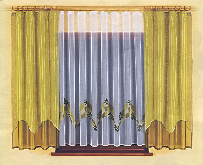 Комплект штор для кухни Sandra, на ленте, цвет: белый, оливковый, высота 180 см