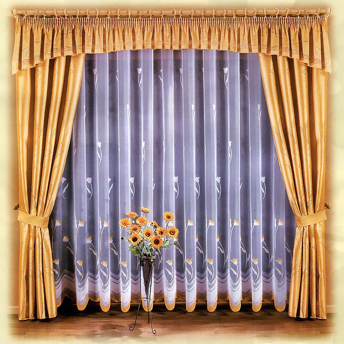 Комплект штор Marianna, на ленте, цвет: белый, желтый, высота 250 см667369Комплект штор Marianna станет великолепным украшением любого окна. В набор входит тюль, две шторы и ламбрекен. Для более изящного расположения штор прилагаются подхваты. Шторы и ламбрекен изготовлены из плотного полиэстера желтого цвета, тюль - из легкого полиэстера белого цвета с изящным цветочным принтом. Тонкое плетение, оригинальный дизайн и контрастная цветовая гамма привлекут к себе внимание и органично впишутся в интерьер комнаты. Все предметы комплекта оснащены шторной лентой для собирания в сборки. Характеристики:Материал: 100% полиэстер. Цвет: белый, желтый. Размер упаковки:32 см х 40 см х 14 см. Артикул: 667369.В комплект входит: Тюль - 1 шт. Размер (ШхВ): 500 см х 250 см. Штора - 2 шт. Размер (ШхВ): 150 см х 250 см. Ламбрекен - 1 шт. Размер (ШхВ): 500 см х 50 см. Подхваты - 2 шт. Фирма Wisan на польском рынке существует уже более пятидесяти лет и является одной из лучших польских фабрик по производству штор и тканей. Ассортимент фирмы представлен готовыми комплектами штор для гостиной, детской, кухни, а также текстилем для кухни (скатерти, салфетки, дорожки, кухонные занавески). Модельный ряд отличает оригинальный дизайн, высокое качество. Ассортимент продукции постоянно пополняется.