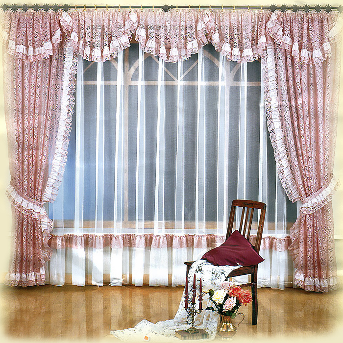 Комплект штор Melania, на ленте, цвет: белый, розовый, высота 250 см724147Комплект штор Melania великолепно украсит любое окно. Комплект состоит из двух штор, тюли и ламбрекена. Для более изящного расположения штор прилагаются подхваты. Шторы и ламбрекен, изготовленные из легкого полиэстера розового цвета с кружевными узорами, по краям оформлены рюшами. Тюль выполнен из полиэстера белого цвета и снизу оформлен сборками. Тонкое плетение, оригинальный дизайн и нежная цветовая гамма привлекут к себе внимание и органично впишутся в интерьер комнаты. Все предметы комплекта - на шторной ленте для собирания в сборки. Характеристики:Материал: 100% полиэстер. Цвет: белый, розовый. Размер упаковки:31 см х 40 см х 15 см. Артикул: 724147.В комплект входит: Штора - 2 шт. Размер (ШхВ): 150 см х 250 см. Тюль - 1 шт. Размер (ШхВ): 500 см х 250 см. Ламбрекен - 1 шт. Размер (ШхВ): 500 см х 50 см. Подхват - 2 шт. Фирма Wisan на польском рынке существует уже более пятидесяти лет и является одной из лучших польских фабрик по производству штор и тканей. Ассортимент фирмы представлен готовыми комплектами штор для гостиной, детской, кухни, а также текстилем для кухни (скатерти, салфетки, дорожки, кухонные занавески). Модельный ряд отличает оригинальный дизайн, высокое качество. Ассортимент продукции постоянно пополняется.