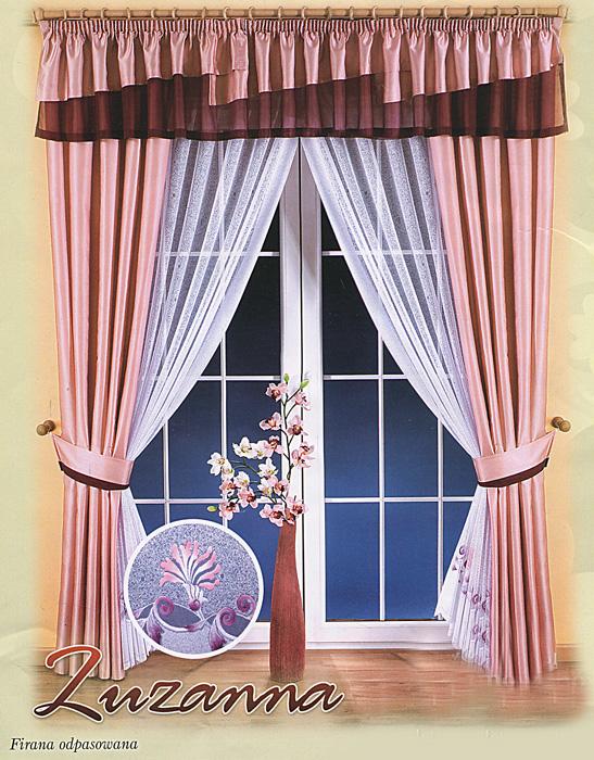 Комплект штор Zuzanna, на ленте, цвет: розовый, белый, высота 250 см664160Комплект штор Zuzanna великолепно украсит любое окно. Комплект состоит из двух штор, двух занавесок и ламбрекена. К комплекту прилагаются подхваты для более изящного расположения штор на окне. Шторы и ламбрекен изготовлены из плотного полиэстера розового цвета с атласной текстурой, занавески - из легкого полиэстера белого цвета. Тонкое плетение, оригинальный дизайн и нежная цветовая гамма привлекут к себе внимание и органично впишутся в интерьер помещения. Все предметы комплекта оснащены шторной лентой для собирания в сборки. Характеристики:Материал: 100% полиэстер. Цвет: розовый, белый. Размер упаковки:28 см х 38 см х 10 см. Артикул: 664160.В комплект входит: Штора - 2 шт. Размер (ШхВ): 150 см х 250 см. Занавески - 2 шт. Размер (ШхВ): 175 см х 250 см. Ламбрекен - 1 шт. Размер (ШхВ): 400 см х 45 см. Подхваты - 2 шт. Фирма Wisan на польском рынке существует уже более пятидесяти лет и является одной из лучших польских фабрик по производству штор и тканей. Ассортимент фирмы представлен готовыми комплектами штор для гостиной, детской, кухни, а также текстилем для кухни (скатерти, салфетки, дорожки, кухонные занавески). Модельный ряд отличает оригинальный дизайн, высокое качество. Ассортимент продукции постоянно пополняется.