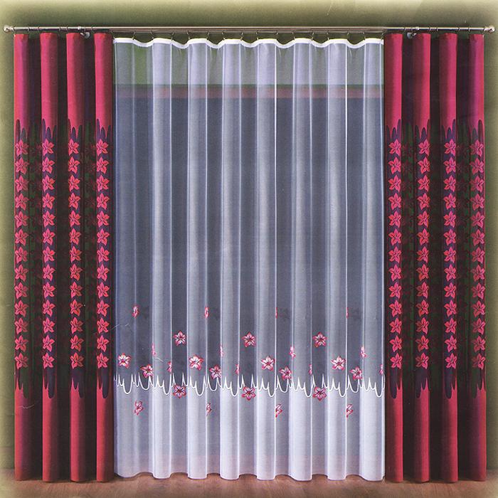 Комплект штор Doda, на ленте, цвет: бордовый, белый, высота 270 см
