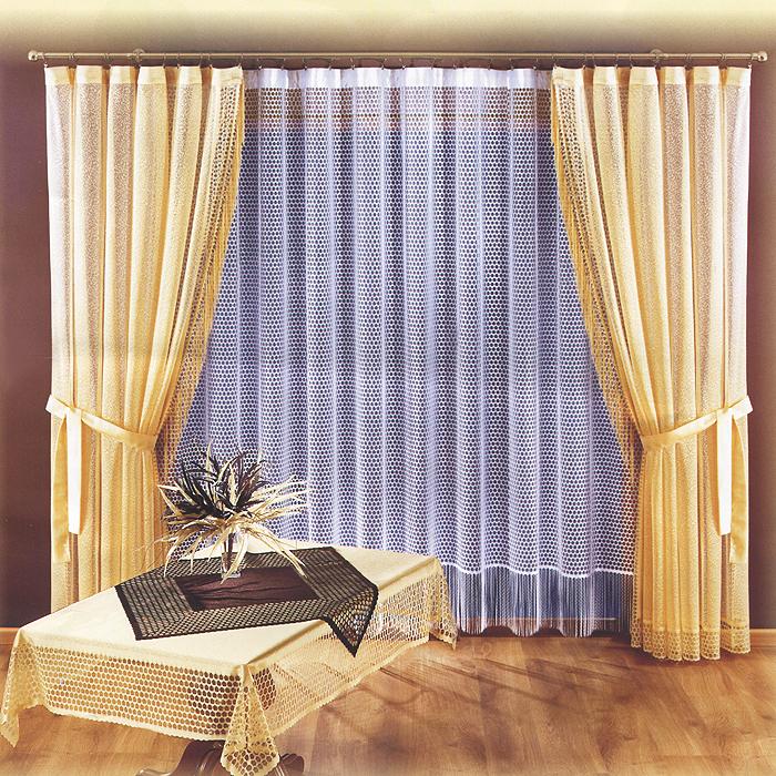 Комплект штор Charlotte, на ленте, цвет: белый, бежевый, высота 250 см723676Комплект штор Charlotte великолепно украсит любое окно. Комплект состоит из двух штор и тюли. Для более изящного расположения штор прилагаются подхваты. Шторы и тюль, выполненные из легкого полиэстера, по краям оформлены бахромой.Тонкое плетение, оригинальный дизайн и нежная цветовая гамма привлекут к себе внимание и органично впишутся в интерьер комнаты. Все предметы комплекта оснащены шторной лентой для собирания в сборки. Характеристики:Материал: 100% полиэстер. Цвет: белый, бежевый. Размер упаковки:32 см х 39 см х 10 см. Артикул: 723676.В комплект входит: Штора - 2 шт. Размер (ШхВ): 250 см х 250 см. Тюль - 1 шт. Размер (ШхВ): 290 см х 250 см. Подхват - 2 шт. Фирма Wisan на польском рынке существует уже более пятидесяти лет и является одной из лучших польских фабрик по производству штор и тканей. Ассортимент фирмы представлен готовыми комплектами штор для гостиной, детской, кухни, а также текстилем для кухни (скатерти, салфетки, дорожки, кухонные занавески). Модельный ряд отличает оригинальный дизайн, высокое качество. Ассортимент продукции постоянно пополняется.