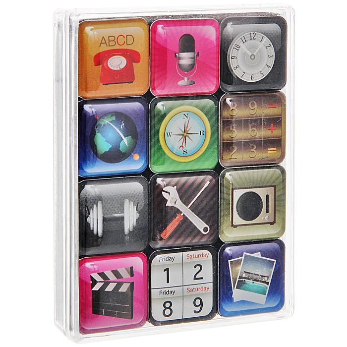 Набор магнитов iPhone, 12 шт94228Набор магнитов включает в себя 12 магнитов, выполненных в виде иконок рабочего стола телефона iPhone. Такие магниты украсят ваш интерьер и привнесут в него разнообразия. Набор также может стать забавным сувениром для близких и друзей. Характеристики:Материал: магнит, пластик. Размер магнита: 2,2 см х 2,2 см. Размер упаковки: 9 см х 7 см х 1,7 см. Артикул: 94228.