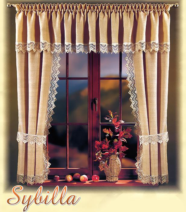 Комплект штор для кухни Sybilla, на кулиске, цвет: бежевый, высота 170 см700134Комплект штор Sybilla великолепно украсит кухонное окно. Комплект состоит из двух штор и ламбрекена. Для более изящного расположения штор прилагаются подхваты. Шторы изготовлены из плотного полиэстера бежевого цвета и по краям оформлены кружевом. Оригинальный дизайн и нежная цветовая гамма привлекут к себе внимание и органично впишутся в интерьер кухни. Шторы оснащены кулиской для крепления на круглый карниз. Характеристики:Материал: 100% полиэстер. Цвет: бежевый. Высота кулиски: 5 см. Размер упаковки:26 см х 36 см х 5 см. Артикул: 700134.В комплект входит: Штора - 2 шт. Размер (ШхВ): 95 см х 170 см. Ламбрекен - 1 шт. Размер (ШхВ): 300 см х 45 см. Подхваты: 2 шт. Фирма Wisan на польском рынке существует уже более пятидесяти лет и является одной из лучших польских фабрик по производству штор и тканей. Ассортимент фирмы представлен готовыми комплектами штор для гостиной, детской, кухни, а также текстилем для кухни (скатерти, салфетки, дорожки, кухонные занавески). Модельный ряд отличает оригинальный дизайн, высокое качество. Ассортимент продукции постоянно пополняется.УВАЖАЕМЫЕ КЛИЕНТЫ!Обращаем ваше внимание на цвет изделия. Цветовой вариант комплекта штор, данного в интерьере, служит для визуального восприятия товара. Цветовая гамма данного комплекта штор представлена на отдельном изображении фрагментом ткани.