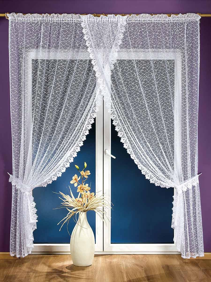 Комплект штор для кухни Aniela, на ленте, цвет: белый, высота 250 см674497Комплект штор Aniela состоит из двух полотен, сшитых вместе с эффектом нахлеста. Шторы изготовлены из легкого воздушного полиэстера белого цвета и по краям оформлены кружевом. Тонкое плетение, оригинальный дизайн и светлая цветовая гамма привлекут к себе внимание и органично впишутся в интерьер кухни. В шторы вшита шторная лента. Характеристики:Материал: 100% полиэстер. Цвет: белый. Размер упаковки:36 см х 26 см х 4 см. Артикул: 674497.В комплект входит: Штора - 1 шт. Размер (ШхВ): 200 см х 250 см. Фирма Wisan на польском рынке существует уже более пятидесяти лет и является одной из лучших польских фабрик по производству штор и тканей. Ассортимент фирмы представлен готовыми комплектами штор для гостиной, детской, кухни, а также текстилем для кухни (скатерти, салфетки, дорожки, кухонные занавески). Модельный ряд отличает оригинальный дизайн, высокое качество. Ассортимент продукции постоянно пополняется.