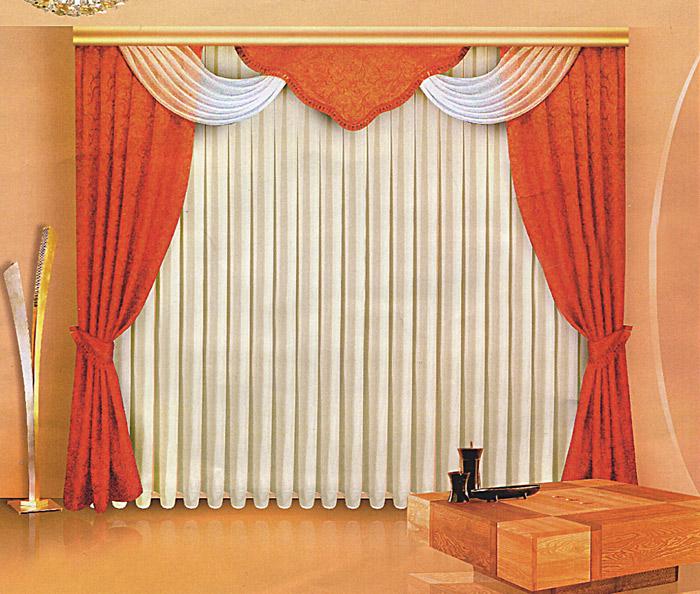 Комплект штор Zlata Korunka, на ленте, цвет: терракотовый, высота 250 см. Б061Б061Комплект штор Zlata Korunka, изготовленный из прочного полиэстера с жаккардовым переплетением, станет великолепным украшением любого окна. В набор входят две плотные шторы терракотового цвета, вуалевый белый тюль и регулируемый ламбрекен. Также для более изящного расположения штор на окне прилагаются подхваты. Ламбрекен и подхваты декорированы кисточками. Тюль и вуалевая часть ламбрекена оформлена атласной окантовкой. Комплект имеет изысканный внешний вид и обладает яркостью и сочностью цвета. Все предметы комплекта на шторной ленте для собирания в сборки.Жаккард - одна из дорогих тканей. Жаккардовые ткани очень прочны, долговечны и удобны в эксплуатации. Своеобразный рельефный рисунок, который получается в результате сложного плетения на плотной ткани, напоминает своего рода гобелен. Характеристики:Материал: 100% полиэстер (жаккард, вуаль). Цвет: терракотовый. Рекомендуемая длина карниза: 250-330 см. Размер упаковки:30 см х 7 см х 42 см. Производитель: Польша. Изготовитель: Россия. Артикул: Б061.В комплект входит: Штора - 2 шт. Размер (ШхВ): 150 см х 250 см. Тюль - 1 шт. Размер (ШхВ): 500 см х 250 см. Ламбрекен - 1 шт. Размер (ШхВ): 330 см х 50 см. Подхваты - 2 шт.УВАЖАЕМЫЕ КЛИЕНТЫ!Обращаем ваше внимание на цвет изделия. Цветовой вариант комплекта, данного в интерьере, служит для визуального восприятия товара. Цветовая гамма данного комплекта представлена на отдельном изображении фрагментом ткани.