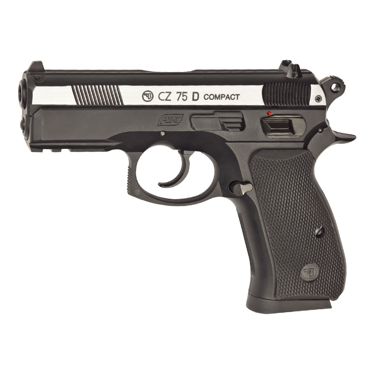 """Точная копия известной и популярной модели чешского пистолета """"CZ 75D Compact"""" с максимальной имитацией функционирования всех подвижных частей - подвижный затвор, предварительный взвод курка, регулируемый целик, планка """"Вивера"""" под стволом для крепления фонаря или ЛЦУ.Версия не-блоубэк (при выстреле """"затвор"""" остаётся неподвижным).Версия Dual Tone отличается хромированным покрытием затвора.Возврат  товара  возможен только при наличии заключения сервисного центра.Время работы сервисного центра: Пн-чт: 10.00-18.00Пт: 10.00- 17.00Сб, Вс: выходные дниАдрес: ООО """"ГАТО"""", 121471, г.Москва,  ул.  Петра  Алексеева,  д  12., тел. (495)232-4670, gato@gato.ru"""