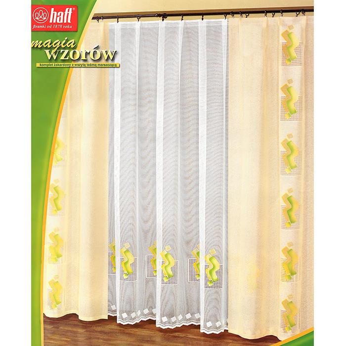 Комплект штор Haft, на ленте, цвет: желтый, белый, высота 250 см393481Комплект штор Haft великолепно украсит любое окно. Комплект состоит из тюля и двух штор, украшенных оригинальным принтом. Шторы выполнены из плотного полиэстера желтого цвета, тюль - из легкого полиэстера белого цвета.Тонкое плетение, необычный дизайн и яркая цветовая гамма привлекут к себе внимание и органично впишутся в интерьер помещения. Все предметы комплекта оснащены шторной лентой для красивой сборки. Характеристики:Материал: 100% полиэстер. Цвет: желтый, белый. Размер упаковки:36 см х 45 см х 8 см. Артикул: 393481.В комплект входит: Штора - 2 шт. Размер (ШхВ): 150 см х 250 см. Тюль - 1 шт. Размер (ШхВ): 500 см х 250 см.