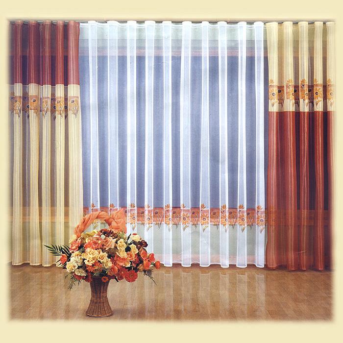 """Комплект штор """"Ztocienie"""" великолепно украсит любое окно. Комплект состоит из тюля и четырех штор, выполненных из легкого полиэстера.Тонкое плетение, изящный дизайн и контрастная цветовая гамма привлекут к себе внимание и органично впишутся в интерьер помещения. Все предметы комплекта оснащены шторной лентой для красивой сборки. Характеристики:Материал: 100% полиэстер. Цвет: терракотовый, желтый, белый. Размер упаковки:  33 см х 42 см х 8 см. Артикул: 804689.В комплект входит: Тюль - 1 шт. Размер (ШхВ): 600 см х 250 см. Штора - 4 шт. Размер (ШхВ): 150 см х 250 см. Фирма """"Wisan"""" на польском рынке существует уже более пятидесяти лет и является одной из лучших польских фабрик по производству штор и тканей. Ассортимент фирмы представлен готовыми комплектами штор для гостиной, детской, кухни, а также текстилем для кухни (скатерти, салфетки, дорожки, кухонные занавески). Модельный ряд отличает оригинальный дизайн, высокое качество. Ассортимент продукции постоянно пополняется."""