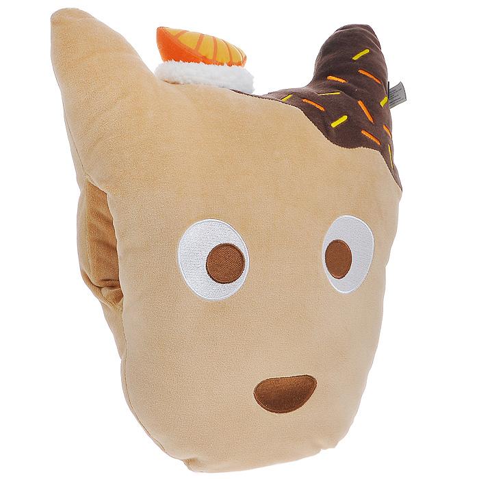 Забавная подушка в виде мордочки собачки Don Don добавит вашему интерьеру уют. Выполненная из мягкого бархатистого материала, эта подушечка также может использоваться как муфта. В подушке имеется специальное отверстие для рук.  Такая подушка подарит вам комфорт, а забавный дизайн вызовет улыбку и привнесет в интерьер позитива. Характеристики:  Материал:  хлопок, полиэстер.  Набивка: полиэстеровое волокно. Размер подушки:  34 см х 43 см х 14 см. Артикул:  15241.
