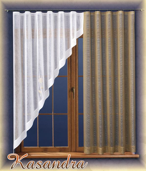 Комплект штор для кухни Kasandra, на ленте, цвет: бежевый, белый, высота 180 см