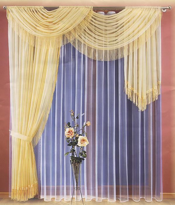 Комплект штор Kim, на ленте, цвет: кремовый, белый, высота 250 см732456Комплект штор Kim, изготовленные из полиэстера кремового цвета, станут великолепным украшением любого окна. Тонкое плетение, оригинальный дизайн и приятная цветовая гамма привлекут к себе внимание и органично впишутся в интерьер. В набор входят две шторы и тюль белого цвета. Также для более изящного расположения штор на окне прилагается подхват. Все элементы комплекта на шторной ленте для собирания в сборки. Характеристики:Материал: 100% полиэстер. Цвет: кремовый, белый. Размер упаковки:27см х 36 см х 8 см. Артикул: 732456.В комплект входит:Штора - 2 шт. Размер (ШхВ): 200 см х 250 см.Тюль - 1 шт. Размер (ШхВ): 500 см х 250 см. Подхват - 1 шт. Фирма Wisan на польском рынке существует уже более пятидесяти лет и является одной из лучших польских фабрик по производству штор и тканей. Ассортимент фирмы представлен готовыми комплектами штор для гостиной, детской, кухни, а также текстилем для кухни (скатерти, салфетки, дорожки, кухонные занавески). Модельный ряд отличает оригинальный дизайн, высокое качество.Ассортимент продукции постоянно пополняется.УВАЖАЕМЫЕ КЛИЕНТЫ!Обращаем ваше внимание на цвет изделия. Цветовой вариант комплекта, данного в интерьере, служит для визуального восприятия товара. Цветовая гамма данного комплекта представлена на отдельном изображении фрагментом ткани.