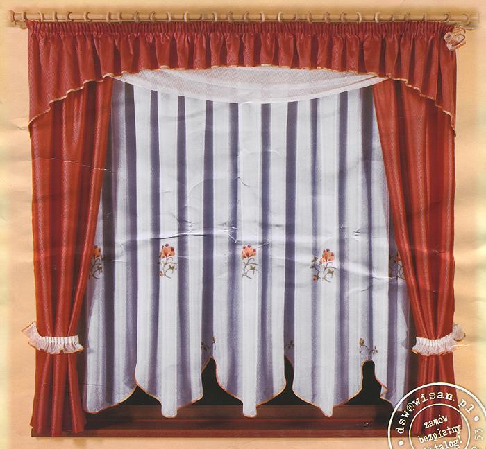 Комплект штор для кухни Yaga, на ленте, цвет: белый, кирпично-красный, высота 180 см636266Комплект штор Yaga, изготовленный из прочного и легкого полиэстера, органично впишется в интерьер кухонной комнаты. В набор входят две шторы кирпично-красного цвета, тюль с цветочным рисунком и ламбрекен. Также для более изящного расположения штор на окне прилагаются подхваты. Все элементы комплекта сшиты на универсальной шторной ленте. Характеристики:Материал: 100% полиэстер. Цвет: белый, кирпично-красный. Размер упаковки:24 см х 5 см х 35 см. Артикул: 636266.В комплект входит:Штора - 2 шт. Размер (ШхВ): 70 см х 180 см. Тюль - 1 шт. Размер (ШхВ): 300 см х 170 см. Ламбрекен - 1 шт. Размер (ШхВ): 400 см х 50 см. Фирма Wisan на польском рынке существует уже более пятидесяти лет и является одной из лучших польских фабрик по производству штор и тканей. Ассортимент фирмы представлен готовыми комплектами штор для гостиной, детской, кухни, а также текстилем для кухни (скатерти, салфетки, дорожки, кухонные занавески). Модельный ряд отличает оригинальный дизайн, высокое качество. Ассортимент продукции постоянно пополняется.УВАЖАЕМЫЕ КЛИЕНТЫ!Обращаем ваше внимание на цвет изделия. Цветовой вариант комплекта, данного в интерьере, служит для визуального восприятия товара. Цветовая гамма данного комплекта представлена на отдельном изображении фрагментом ткани.