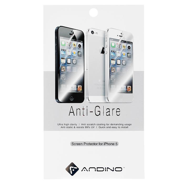 Andino защитная пленка для iPhone 5, матоваяAPIPO5SPAT1Защитная пленка для Apple iPhone 5 позволит уберечь любимый гаджет от появления царапин, отпечатков пальцев, сколов, пыли и влаги. Она не влияет на сенсорные качества дисплея и обладает высокой прозрачностью, легко наносится и так же легко снимается, не оставляя следов на дисплее.