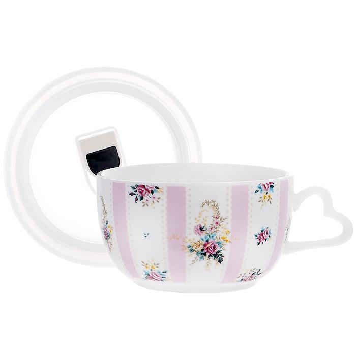 Бульонница Розовый Муар с вакуумной крышкой, цвет: белый. 574-539 бульонница с вакуумной крышкой розовый горизонт 18 5 14 5 7 см цв уп 881020