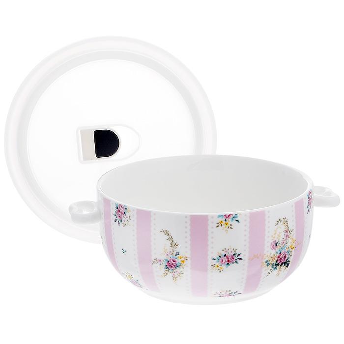 Бульонница Розовый Муар с вакуумной крышкой, цвет: белый. 574-533574-533Бульонница Розовый Муар, изготовленная из высококачественного фарфора, декорирована орнаментом и изображением цветов. Она снабжена пластиковой вакуумной крышкой с внутренним уплотнительным кольцом из силикона.С такой бульонницей ваши супы будут оставаться горячими еще дольше.Можно использовать в микроволновой печи, духовом шкафу (без крышки), хранить в холодильнике и мыть в посудомоечной машине. Характеристики:Материал: фарфор, пластик, силикон. Цвет: белый. Диаметр бульонницы по верхнему краю: 14,5 см. Высота бульонницы: 7 см. Размер упаковки: 16 см х 16 см х 7,5 см. Артикул: 574-533.