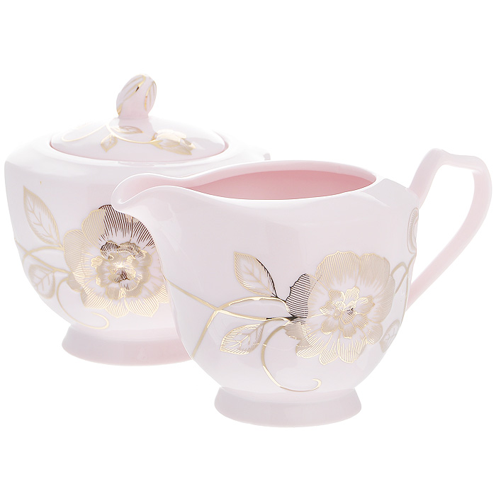 Набор Розовая соната, 2 предмета595-029Набор Розовая соната состоит из сахарницы и молочника, выполненных из высококачественного фарфора розового цвета. Изделия декорированы золотистым цветочным рисунком. Такой набор прекрасно подойдет для сервировки стола и станет незаменимым атрибутом чаепития. Набор упакован в подарочную коробку из плотного золотистого картона. Внутренняя часть коробки задрапирована белой атласной тканью, и каждый предмет надежно крепится в определенном положении благодаря особым выемкам в коробке. Характеристики:Материал: фарфор. Объем молочника: 380 мл. Размер молочника (Д х Ш х В): 14,5 см х 9 см х 9 см. Объем сахарницы: 380 мл. Диаметр сахарницы: 10 см. Высота сахарницы (с учетом крышки): 10,5 см. Размер упаковки: 25,5 см х 13,5 см х 10,5 см. Артикул: 595-029.