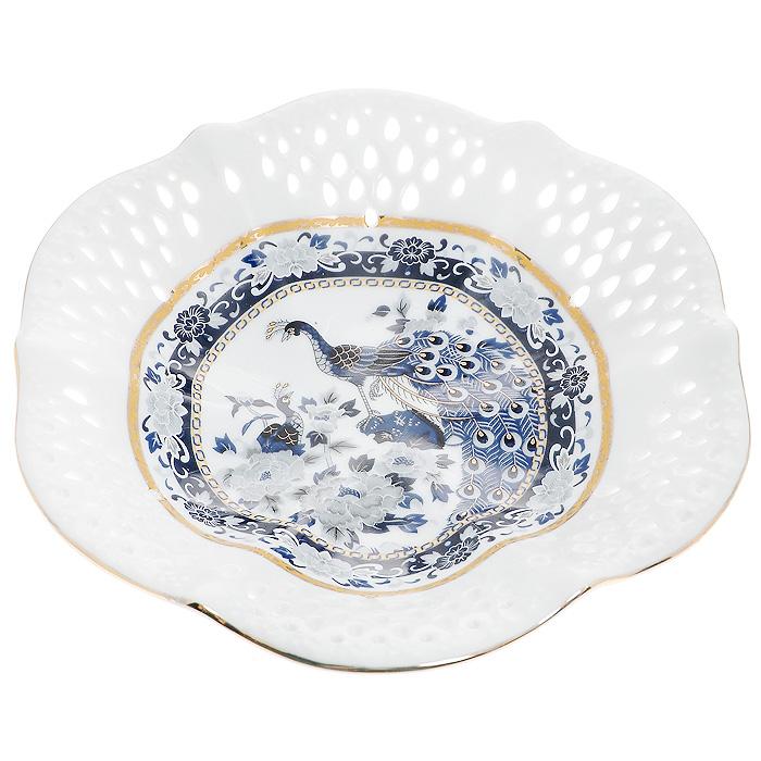 Блюдо Синий павлин, цвет: белый, диаметр 20 см блюдо churchill диаметр 28 5 см