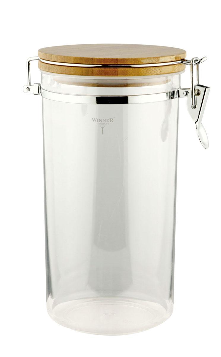 Контейнер для сыпучих продуктов Winner, 2,2 лWR-6902Контейнер Winner, выполненный из пищевого пластика, станет незаменимым помощником на кухне. В нем будет удобно хранить разнообразные сыпучие продукты, такие как кофе, крупы, макароны или специи. Контейнер снабжен герметичной бамбуковой крышкой с силиконовым уплотнителем и клипсой-защелкой. Контейнер Winner станет достойным дополнением к кухонному инвентарю. Характеристики:Материал: пластик, бамбук, силикон, металл. Диаметр контейнера по верхнему краю: 12,5 см. Высота контейнера (без учета крышки):23 см. Высота контейнера (с учетом крышки):24,7 см. Объем контейнера:2,2 л. Размер упаковки: 13,5 см х 13,5 см х 25 см. Производитель: Германия. Изготовитель: Китай. Артикул: WR-6902.