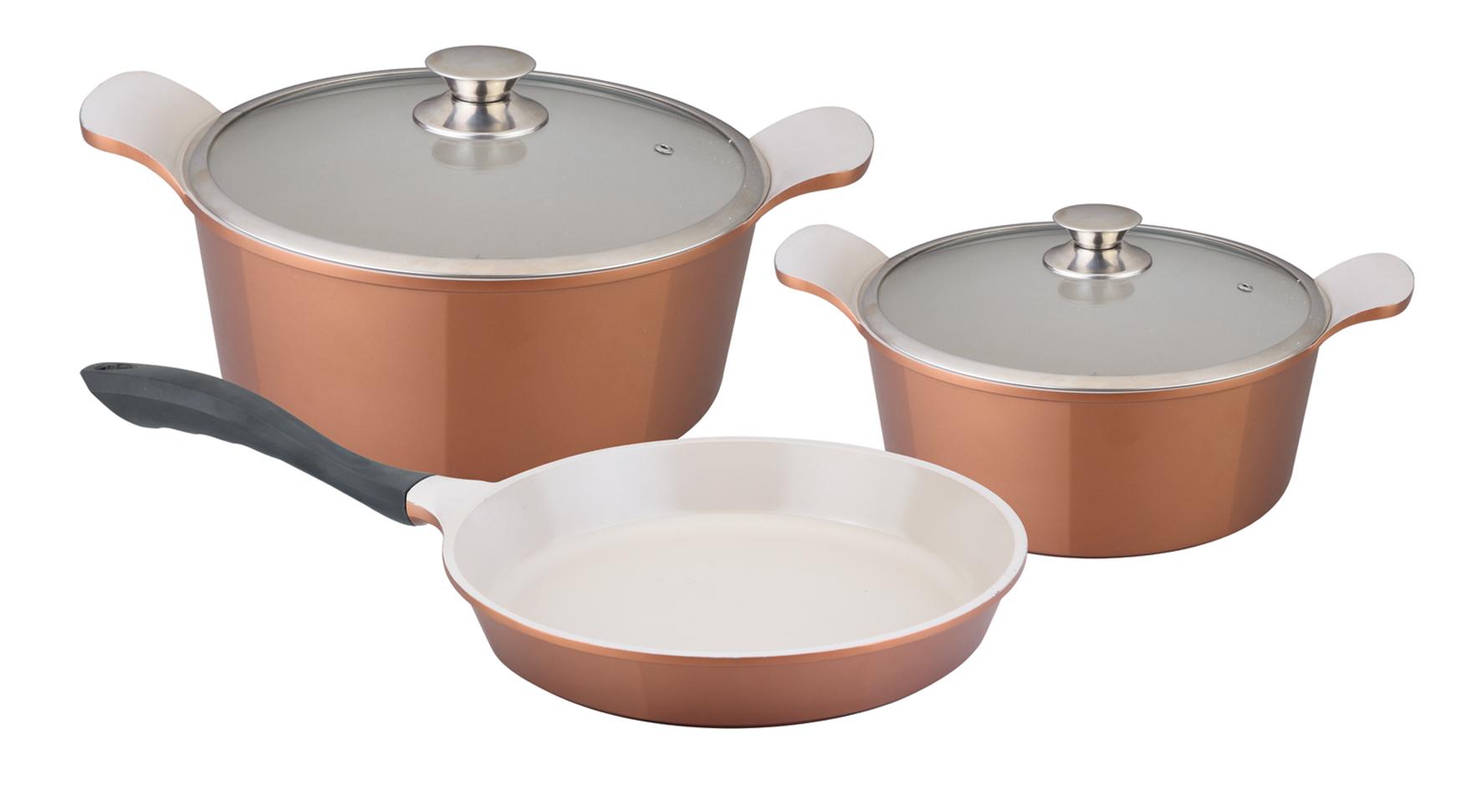 """В набор посуды """"Winner"""" входят: 2 кастрюли с крышками и сковорода. Предметы набора выполнены из высококачественного литого алюминия с антипригарным керамическим нанопокрытием """"Ceralon"""".  Посуда с нанопокрытием обладает высокой прочностью, жаро-, износо-, коррозийной стойкостью, химической инертностью. При нагревании до высоких температур не выделяет и не впитывает в себя вредных для человека химических соединений.  Нанопокрытие гарантирует быстрый и равномерный нагрев посуды и существенную экономию электроэнергии. Данная технология позволяет исключить деформацию корпуса при частом и длительном использовании посуды.  Посуда имеет внешнее цветное жаропрочное силиконовое покрытие. Крышки, выполненные из термостойкого стекла, позволят вам следить за процессом приготовления пищи. Крышки плотно прилегают к краям посуды, предотвращая проливание жидкости и сохраняя аромат блюд. Изделия подходят для использования на всех типах плит, включая индукционные. Можно мыть в посудомоечной машине.    Это идеальный подарок для современных хозяек, которые следят за своим здоровьем и здоровьем своей семьи. Эргономичный дизайн и функциональность набора позволят вам наслаждаться процессом приготовления любимых, полезных для здоровья блюд. Характеристики:   Материал: литой алюминий, стекло. Объем кастрюль: 2,4 л, 6,3 л. Внутренний диаметр кастрюль: 20 см, 28 см. Высота стенок кастрюль: 8,7 см, 11,5 см. Диаметр индукционного дна кастрюль: 15,5 см, 21 см. Внутренний диаметр сковороды: 28 см. Объем сковороды: 2,5 л. Высота стенки сковороды: 4 см. Длина ручки сковороды: 23 см. Диаметр индукционного дна сковороды: 21,5 см. Толщина стенок посуды: 2 мм. Толщина дна посуды: 0,5 см. Производитель: Германия. Изготовитель: Китай.   УВАЖАЕМЫЕ КЛИЕНТЫ!  Обращаем ваше внимание на тот факт, что объем кастрюли указан максимальный, с учетом  полного наполнения до кромки. """"Рабочий"""" объем кастрюли имеет меньший литраж."""