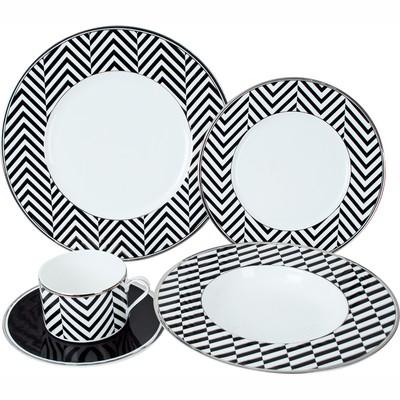 Сервиз обеденный Winner, 30 предметов. WR-3008BCWR-3008BCОбеденный сервиз Winner состоит из 6 суповых тарелок, 6 обеденных тарелок, 6 десертных тарелок, 6 чашек, 6 блюдец. Изделия изготовлены из высококачественного костяного фарфора со стильным дизайном в виде геометричного узора из белых, черных и серебристых линий. Поверхность изделий покрыта превосходной сверкающей глазурью, не содержащей свинца.Такой сервиз придется по вкусу любителям классики, и тем, кто предпочитает утонченность и изысканность. Характеристики:Материал: костяной фарфор. Диаметр суповой тарелки: 23,6 см. Высота глубокой тарелки: 3,5 см. Диаметр обеденной тарелки: 27,4 см. Высота обеденной тарелки: 1,5 см. Диаметр десертной тарелки: 21,6 см. Высота десертной тарелки: 1,5 см. Диаметр чашки (по верхнему краю): 8,7 см. Высота чашки: 5,7 см. Объем чашки: 280 мл. Диаметр блюдца: 16,5 см. Размер упаковки: 34 см х 34 см х 30 см. Артикул: WR-3008BC.