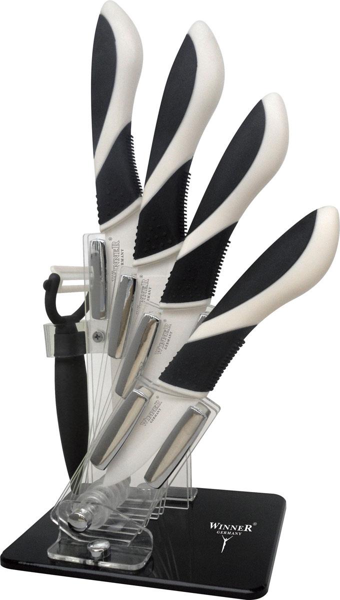 """Набор """"Winner"""" состоит из 4 кухонных ножей, выполненных из циркониевой керамики (диоксид циркония). Уникальная японская технология затачивания лезвия в 3 этапа позволяет в течение 5 лет сохранить остроту без заточки при правильном использовании.Эргономичная рукоятка выполнена из ABS-пластика с внешним силиконовым покрытием """"Soft Touch"""" черного цвета. Рукоятка не скользит в руках и делает резку удобной и безопасной. Такой набор ножей подойдет для нарезки любых овощей, мяса, рыбы и других продуктов. Ножи не оставляют послевкусия. Не вступают в химическую реакцию с продуктами, не придают продуктам металлический вкус и запах, исключено прилипание продуктов.Предметы набора компактно размещаются в стильной подставке, которая выполнена из высококачественного пластика.  Набор включает в себя:   Нож поварской - гибкость у окончания клинка позволяет нарезать; утолщенное основание клинка позволяет рубить мясо, рыбу, овощи и фрукты. Плоской поверхностью клинка можно давить чеснок или отбивать мясо. Обух клинка можно применять для дробления костей. Нож универсальный - применяется для нарезки фруктов, сыра и приготовления бутербродов. Нож для очистки - используется для чистки овощей и фруктов, приготовления гарниров и салатов. Также применяется для отделения костей в птице или рыбе.  Характеристики:Материал: циркониевая керамика, акрил, ABS пластик. Общая длина поварского ножа: 27,3 см. Длина лезвия поварского ножа:  15,2 см. Общая длина универсального ножа: 24,8 см. Длина лезвия универсального ножа: 12,5 см. Общая длина универсального ножа: 21 см. Длина лезвия универсального ножа: 9,8 см. Общая длина ножа для чистки:  18,4 см. Длина лезвия ножа для чистки:  7,4 см. Размер картофелечистки:  13,5 см х 8 см. Размер упаковки: 30 см х 18 см х 12 см. Производитель: Германия. Изготовитель: Китай. Артикул: WR-7316."""