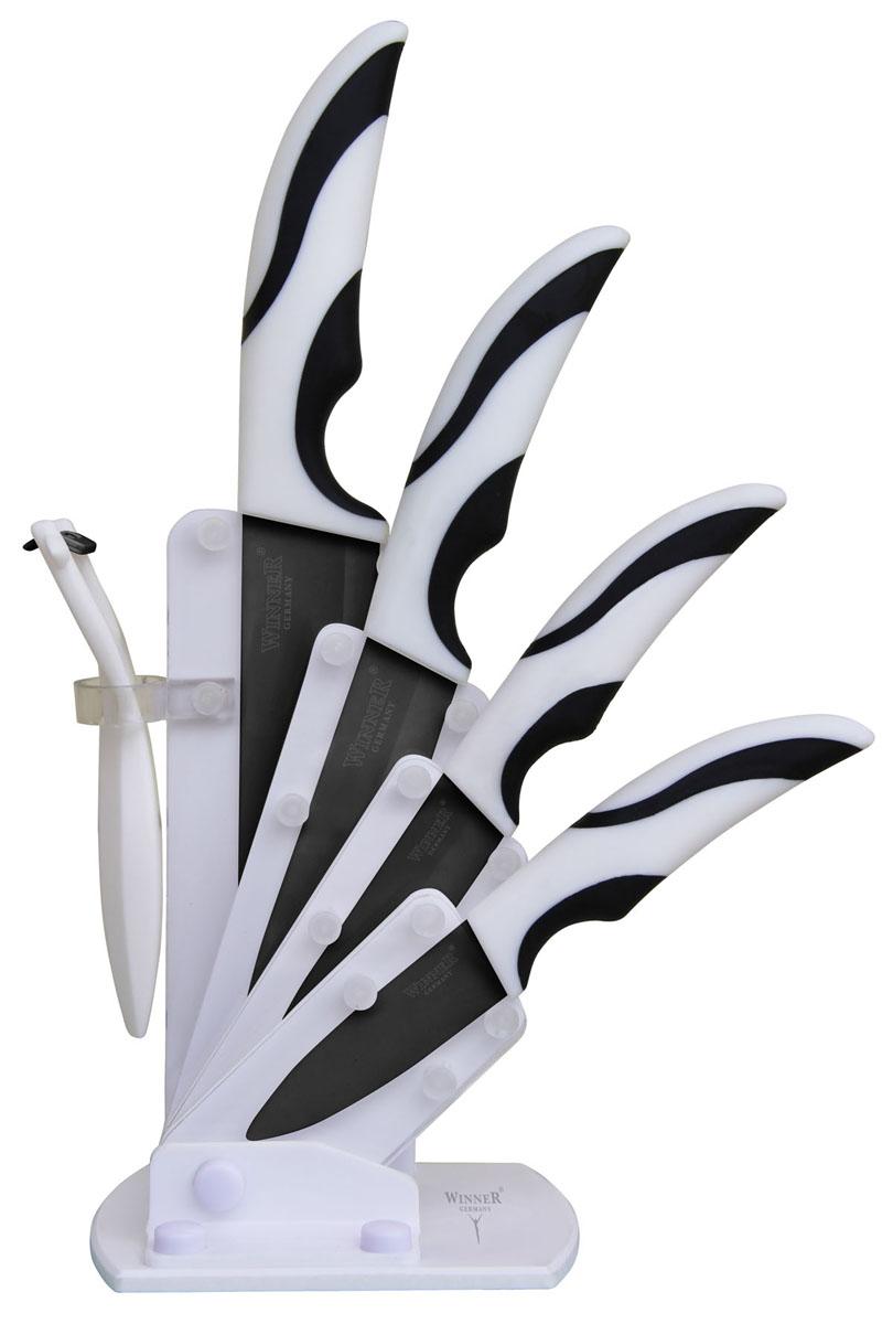 """Набор """"Winner"""" предоставит вам все необходимые возможности в успешном приготовлении пищи и порадует вас своими результатами.  При изготовлении ножей используется высококачественная циркониевая керамика, которая обеспечивает высокие режущие свойства кромки клинка. Сечение клинка ножей """"Winner"""" - клинообразно, что позволяет режущей кромке быть продолжительное время острой. Тщательно разработанный дизайн рукоятки и качество ее шлифовки позволяет ножу удобно располагаться в руке.   Предметы набора компактно размещаются в стильной подставке, которая выполнена из комбинации акрила с пластиком. Физические и практические свойства данного материала гарантируют длительный эксплуатационный период.   Набор включает в себя:   Нож поварской - гибкость у окончания клинка позволяет нарезать; утолщенное основание клинка позволяет рубить мясо, рыбу, овощи и фрукты. Плоской поверхностью клинка можно давить чеснок или отбивать мясо. Обух клинка можно применять для дробления костей.  Нож универсальный - применяется для нарезки фруктов, сыра и приготовления бутербродов.  Нож для очистки - используется для чистки овощей и фруктов, приготовления гарниров и салатов. Также применяется для отделения костей в птице или рыбе.    Характеристики:  Материал: циркониевая керамика, акрил, пластик. Общая длина поварского ножа: 28 см. Длина лезвия поварского ножа:  15 см. Общая длина универсального ножа: 24,2 см. Длина лезвия универсального ножа: 12,5 см. Общая длина универсального ножа: 20,4 см. Длина лезвия универсального ножа: 9,8 см. Общая длина ножа для очистки: 18,2 см. Длина лезвия ножа для очистки: 7,4 см. Размер подставки: 12 см х 6 см х 20,5 см. Размер упаковки: 30,5 см х 14,5 см х 10 см. Производитель: Германия. Изготовитель: Китай. Артикул: WR-7321."""