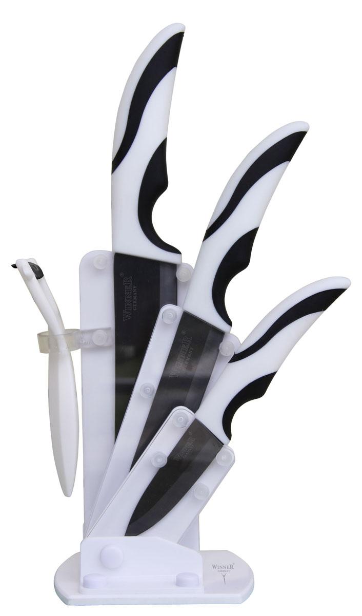 """Набор """"Winner"""" предоставит вам все необходимые возможности в успешном приготовлении пищи и порадует вас своими результатами. При изготовлении ножей используется высококачественная керамика, которая обеспечивает высокие режущие свойства кромки клинка. Сечение клинка ножей """"Winner"""" - клинообразно, что позволяет режущей кромке быть продолжительное время острой. Тщательно разработанный дизайн рукоятки и качество ее шлифовки позволяет ножу удобно располагаться в руке. Ручки ножей выполнены из прорезиненного покрытия. Предметы набора компактно размещаются в стильной подставке, которая выполнена из высококачественной комбинации с акрилом и пластиком. Физические и практические свойства данного материала гарантируют длительный эксплуатационный период. Набор включает в себя:   Нож поварской - гибкость у окончания клинка позволяет нарезать; утолщенное основание клинка позволяет рубить мясо, рыбу, овощи и фрукты. Плоской поверхностью клинка можно давить чеснок или отбивать мясо. Обух клинка можно применять для дробления костей. Нож универсальный - применяется для нарезки фруктов, сыра и приготовления бутербродов. Нож для очистки - используется для чистки овощей и фруктов, приготовления гарниров и салатов. Также применяется для отделения костей в птице или рыбе.   Картофелечистка.  Характеристики:Материал: циркониевая керамика, акрил, пластик. Общая длина поварского ножа: 28 см. Длина лезвия поварского ножа:  14,6 см. Общая длина универсального ножа: 23,8 см. Длина лезвия универсального ножа: 12 см. Общая длина ножа для чистки:  18,2 см. Длина лезвия ножа для чистки:  7,4 см. Размер картофелечистки:  13,8 см х 8,4 см. Размер подставки: 12 см х 6 см х 20,5 см. Размер упаковки: 30,5 см х 10 см х 13,5 см. Производитель: Германия. Изготовитель: Китай. Артикул: WR-7323."""