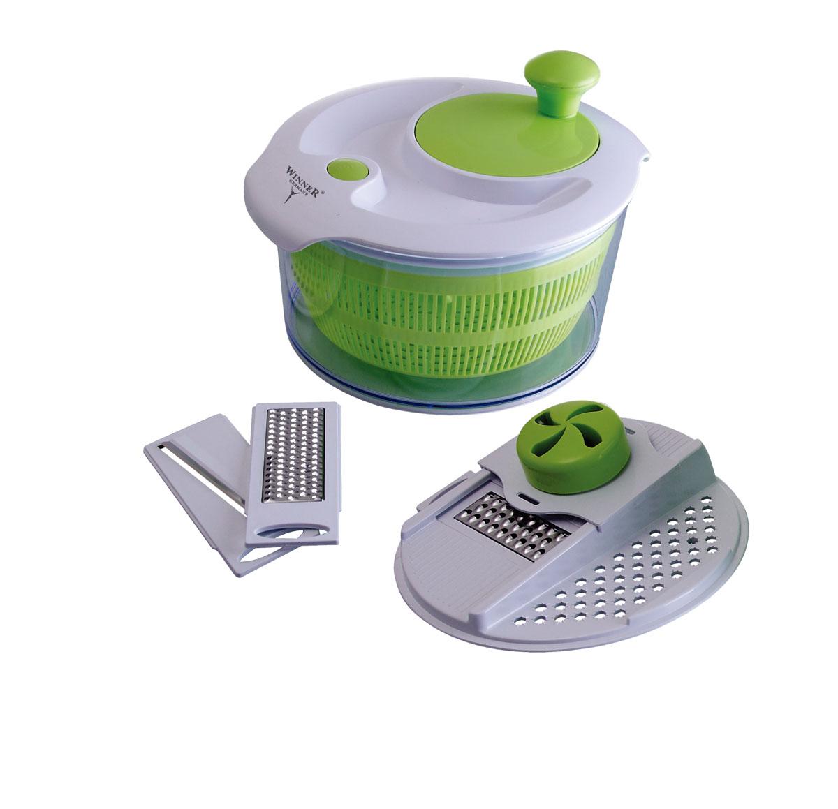Набор для изготовления салатов Winner. WR-7401WR-7401Набор для изготовления салатов Winner предназначен для исключительно бытового использования и для обработки небольшого количества продуктов. Имеет механическое управление. Прибор сочетает в себе функции измельчителя и приспособления для сушки зелени и ягод. Меняя ножи на крышке, Вы можете получить огромный выбор нарезки фруктов, овощей и других продуктов, например, сыра, шоколада и т.п. Комплектация:чаша объемом 4,7л, крышка-держатель для ножей, держатель для продуктов, ножи: для крупной нарезки, для мелкой нарезки, для нарезки тонкими ломтиками, крышка для сушки зелени и ягод, корзинка-дуршлаг и подробная инструкция по эксплуатации на русском языке.Рекомендована ручная чистка. Характеристики:Материал: пластик пищевой, лезвия из нержавеющей стали. Объем чаши: 4,7 л. Размер чаши: 24 см х 24 см х 11,5 см. Размер упаковки: 25 см x 15 см x 18 см. Изготовитель: Китай.