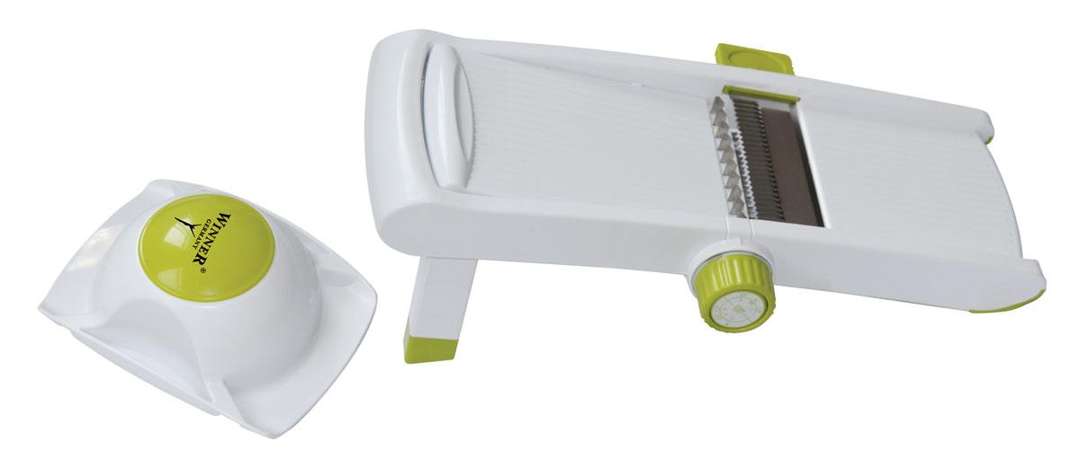 Овощерезка многофункциональная Winner, цвет: салатовый, белыйWR-7418Овощерезка Winner предназначена для нарезания продуктов всевозможными способами и незаменима для быстрого и удобного приготовления салатов, супов и других блюд. В комплект входит держатель для ножей, нож с двойным лезвием, нож для шинкования с переключателем ножей и регулятором толщины нарезки, держатель для продуктов. Нарезать овощи можно крупной или мелкой соломкой, толстыми или тонкими ломтиками, также благодаря ножу с двойным лезвием можно нарезать овощи рифленой соломкой или рифлеными плоскими ломтиками, толщину которых можно регулировать. Прорезиненное покрытие обеспечивает устойчивость прибора при использовании. Также овощерезка оснащена прорезиненными для устойчивости и легко складывающимися ножками, благодаря чему прибор займет минимальное пространство на кухне. Режим и толщина нарезки определяются по цифре и делению шкалы, расположенным вертикально. - Режим Slice - толщина плоских ломтиков 1-8 мм. - Режим Julienne - толщина соломки 3-9 мм. В комплекте - инструкция по эксплуатации. Такая многофункциональная овощерезка поможет вам быстро, легко и красиво нарезать овощи и приготовить ваши любимые блюда. Характеристики:Материал: пластик, нержавеющая сталь. Цвет: белый, салатовый. Размер овощерезки: 32 см х 12 см х 4,5 см. Размер упаковки: 32,5 см х 17 см х 8 см. Производитель: Германия. Изготовитель: Китай. Артикул: WR-7418.