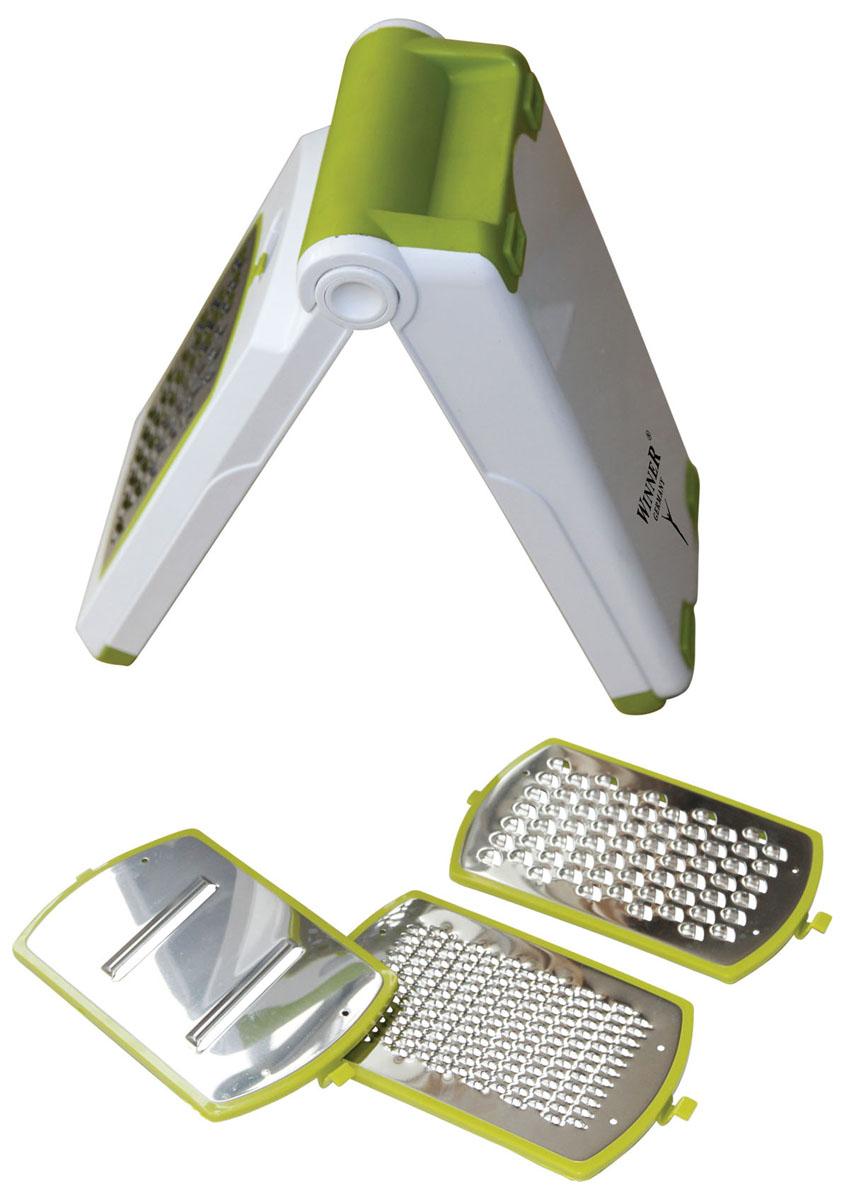 Терка многофункциональная Winner, цвет: белый, салатовыйWR-7419Многофункциональная терка Winner предназначена для нарезания продуктов всевозможными способами и незаменима для быстрого и удобного приготовления салатов, супов и других блюд. Прибор удобен в применении и хранении: подставка для ножей обеспечивает устойчивость прибора при использовании и одновременно служит контейнером для хранения, занимая при этом минимальное пространство на кухне. Меняя насадки, вы получаете выбор нарезки фруктов, овощей и других продуктов самым быстрым и легким способом. В комплекте: - нож для мелкой нарезки, - нож для средней нарезки двусторонний, - нож для крупной нарезки,- нож для нарезки крупными ломтиками, - держатель для ножей,- подставка для использования и хранения ножей. Такая многофункциональная терка поможет вам быстро, легко и красиво нарезать овощи и приготовить ваши любимые блюда. Характеристики:Материал: пластик, нержавеющая сталь. Цвет: белый, салатовый. Размер терки: 25,5 см х 12 см х 5,5 см. Размер рабочей поверхности: 9,5 см х 14,5 см. Размер упаковки: 12,5 см х 26,5 см х 6,5 см. Производитель: Германия. Изготовитель: Китай. Артикул: WR-7419.
