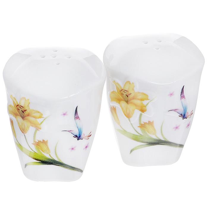 Набор для специй Бабочка и лилия, цвет: белый, 2 предмета
