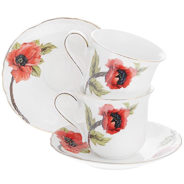 """Чайный набор """"Красный мак"""", выполненный из высококачественного фарфора белого цвета, состоит из двух чашек и двух блюдец. Изделия декорированы золотистой каймой и изображением маков. Элегантный дизайн и совершенные формы предметов набора привлекут к себе внимание и украсят интерьер вашей кухни.  Чайный набор """"Красный мак"""" идеально подойдет для сервировки стола и станет отличным подарком к любому празднику.  Чайный набор упакован в подарочную коробку. Характеристики:  Материал:  фарфор. Объем чашки:  200 мл. Диаметр чашки по верхнему краю: 8,5 см. Высота чашки: 7,8 см. Диаметр блюдца: 15 см. Размер упаковки: 28 см х 8,5 см х 19 см. Артикул: 590-023."""