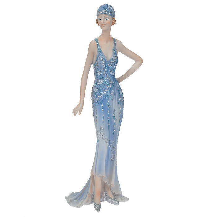 """Статуэтка """"Леди в синем платье"""", выполненная из полистоуна, станет отличным украшением интерьера вашего дома или офиса. Статуэтка выполнена в виде девушки в изящном синем платье, украшенном блестками.Вы можете поставить статуэтку в любом месте, где она будет удачно смотреться, и радовать глаз. Также она может стать оригинальным подарком для всех любителей стильных вещей.   Характеристики:Материал: полистоун. Размер статуэтки (Ш х Д х В): 12 см х 8 см х 32 см. Размер упаковки: 11 см х 13 см х 35 см. Артикул: 514-1022."""