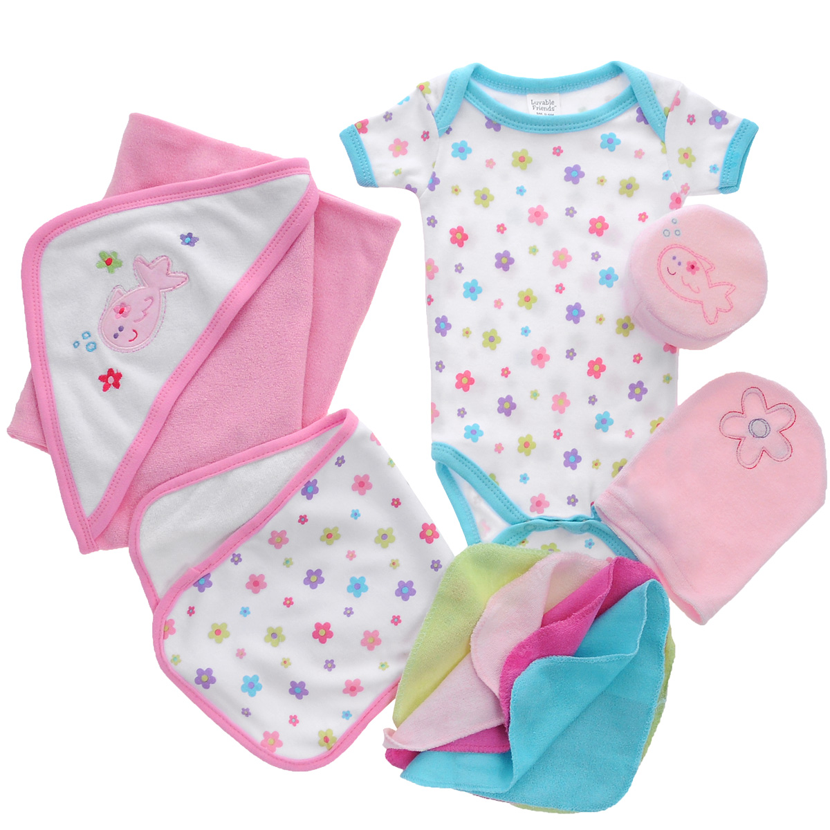 Подарочный комплект для ванны для новорожденного Luvable Friends, цвет: розовый, 9 предметов. 07074. Размер 0/6мес07074Комплект для ванны для новорожденного Luvable Friends - это замечательный подарок, который прекрасно подойдет для первых дней жизни малыша. Комплект состоит из боди, полотенца с уголком, рукавички, мочалки, маленького полотенчика и четырех салфеток для мытья.Изготовленный из хлопка, он необычайно мягкий и приятный на ощупь, не сковывает движения малыша и позволяет коже дышать, не раздражает даже самую нежную и чувствительную кожу ребенка, обеспечивая ему наибольший комфорт. Удобное боди с круглым вырезом горловины и короткими рукавами имеет специальные запахи на плечах и кнопки на ластовице, что значительно облегчает процесс переодевания ребенка и смену подгузника. Махровое полотенце с уголком идеально подходит для ухода за ребенком после купания, так как позволяет полностью завернуть малыша и защитить его от простуды. Оно очень мягкое и приятное на ощупь, обладает легким массирующим эффектом, отлично впитывает влагу и быстро сохнет. Капюшон декорирован вышивкой-аппликацией. Мочалка обеспечивает мягкий уход за кожей малыша при купании, отлично взбивает мыльную пену. Рукавичка, салфетки и маленькое полотенчико также незаменимы при купании младенца. Все предметы комплекта упакованы в подарочную коробку, перевязанную атласной ленточкой.