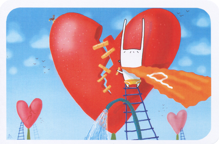 Авторская открытка станет необычным и ярким дополнением к подарку дорогому и близкому вам человеку или просто добавит красок в серые будни. Открытка оформлена изображением зайца в плаще супермена, склеивающего разбитое сердце пластырем.  Обратная сторона открытки не содержит текста, что позволит вам самостоятельно написать самые теплые и искренние пожелания. К открытке прилагается бумажный конверт.   Характеристики:   Автор: Vsegdaestpovod. Размер:  15 см х 10 см. Материал: бумага. Артикул: sp007.