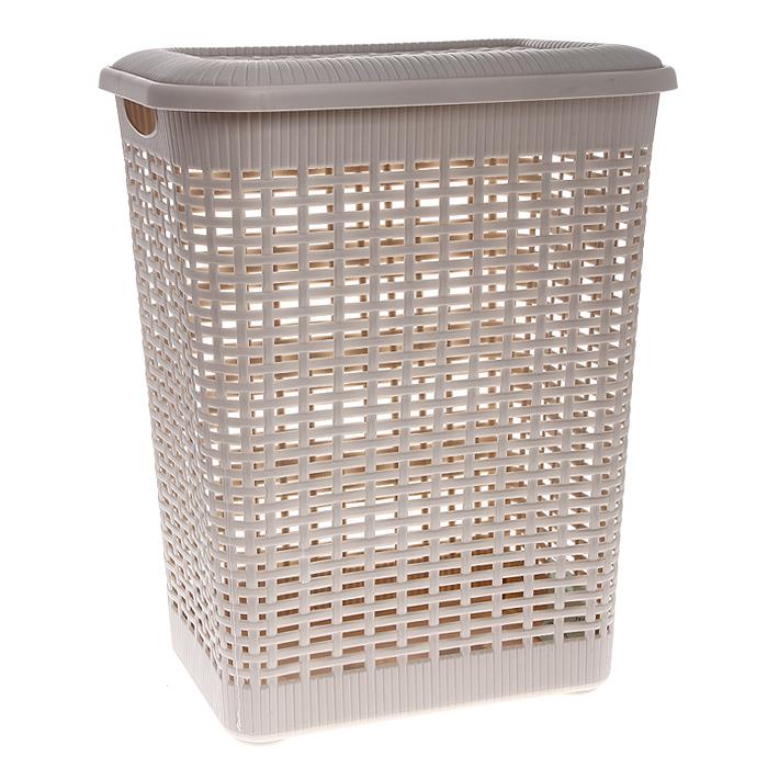 Корзина для белья Rattan с крышкой, цвет: молочный, 30 л корзина для мусора бытпласт цвет серо бежевый высота 26 см