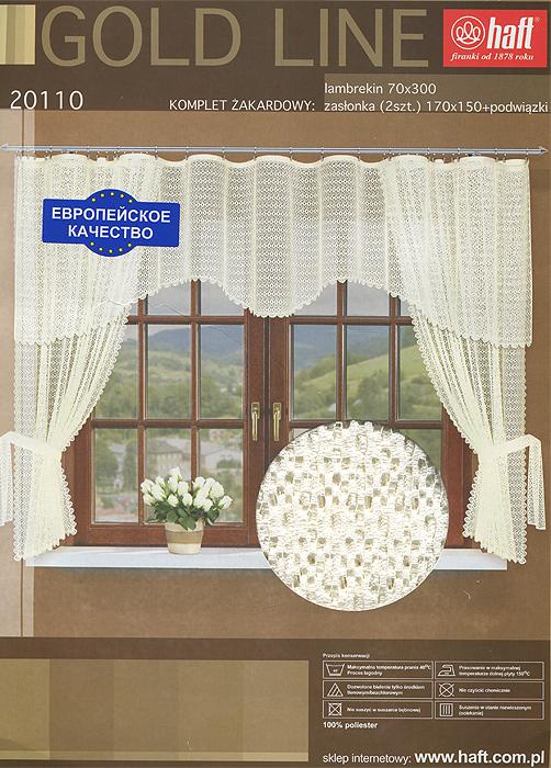 Комплект штор для кухни Haft, на ленте, цвет: кремовый, высота 175 см608509Комплект штор Haft, изготовленный из прочного и легкого полиэстера кремового цвета, органично впишется в интерьер кухонной комнаты. В набор входят две шторы и ламбрекен. Также для более изящного расположения штор на окне прилагаются подхваты. Все элементы комплекта сшиты на универсальной шторной ленте. Характеристики:Материал: 100% полиэстер. Цвет: кремовый. Размер упаковки:26 см х 6 см х 39 см. Артикул: 636266.В комплект входит:Штора - 2 шт. Размер (ШхВ): 150 см х 175 см. Ламбрекен - 1 шт. Размер (ШхВ): 300 см х 70 см. Прихват - 2 шт.