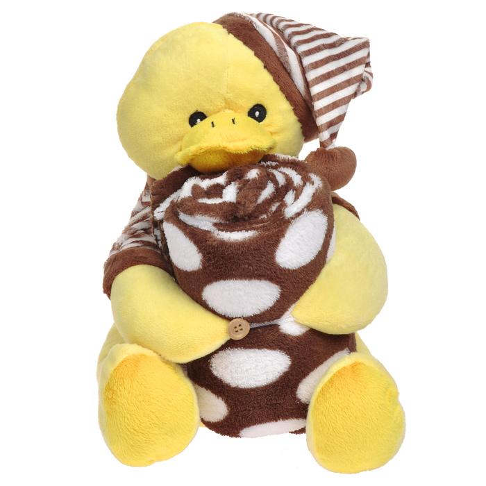 Плед детский Утка, с игрушкойДИП-70х100_уткаМягкий и уютный детский плед Утка словно создан для того, чтобы окружить теплотой и радостью маленькую кроху. Он прекрасно подходит для укрывания малыша, как дома, так и на прогулке в коляске.Плюшевый плед очень мягкий, нежный и приятный на ощупь. Плед в свернутом виде держит симпатичный желтый утенок в полосатой футболочке и колпачке. Игрушка выполнена из мягкого материала с наполнителем из полиэстера. Конечности утенка закрепляются на пуговку, благодаря чему плед крепко держится и не падает.Детский плед с игрушкой Утка прекрасно впишутся в интерьер детской комнаты и подарят ребенку радость, ощущение комфорта и уюта уже с первых дней жизни. Характеристики:Материал пледа: 100% полиэстер. Размер пледа: 70 см х 100 см. Высота игрушки: 32 см.
