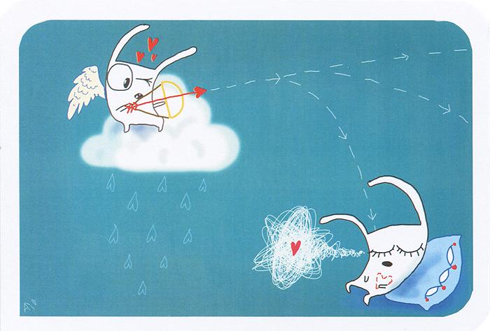 """Авторская открытка """"Купидон"""" станет необычным и ярким дополнением к подарку близкому человеку. Открытка оформлена изображением зайца-купидона, пускающего стрелу любви. Обратная сторона открытки не содержит текста, что позволит вам самостоятельно написать самые теплые и искренние пожелания.  К открытке прилагается конверт. Характеристики:   Материал: бумага. Размер:  15 см х 10 см. Артикул:  IL039."""