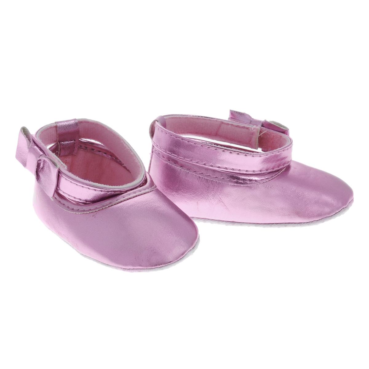 Пинетки для девочки Luvable Friends Балетки с бантиком, цвет: розовый. 11153. Размер 12/18мес пинетки luvable friends пинетки клетчатые кеды