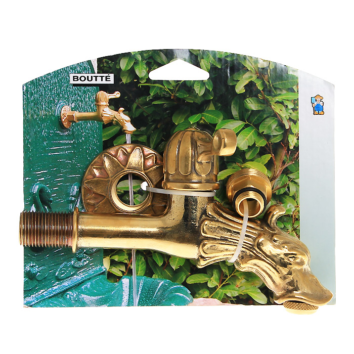 Кран садовый Boutte Дракон с вентилем, 1,20158010Декоративный садовый кран Boutte стилизован под золото. Вентиль, выполненный в форме дракона, будет служить эксклюзивным украшением в любом саду. Переходник 3/4,Резьба 1/2. Характеристики:Материал: латунь, резина. Размер: 3 см х 18 см х 10 см. Цвет: золотистый. Размер упаковки: 4 см х 18 см х 15 см.