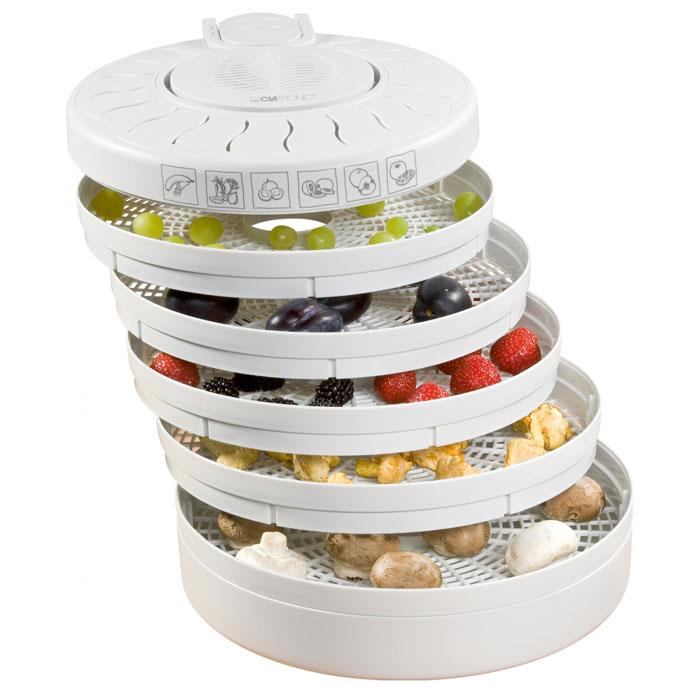 Сушилка Clatronic DR 2751 легко справится с большими объемами продуктов, сохранит полезные витамины, которые так нужны зимой. Управление одной кнопкой Вентилятор у данной сушки расположен сверху Один температурный режим Кнопка включения